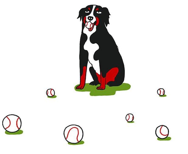 Dog Illustration with Baseballs